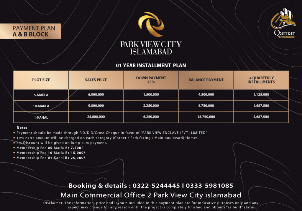 Park view city H Block payment plan