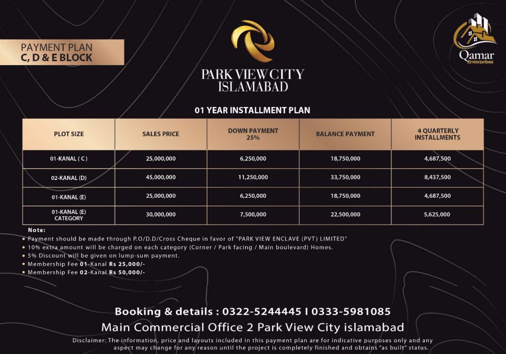 Park view city C D E Block payment plan