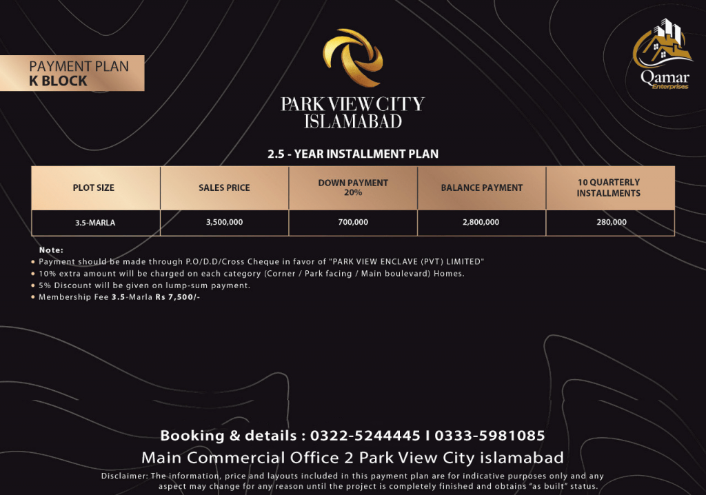 Park view city 3.5 marla payment plan