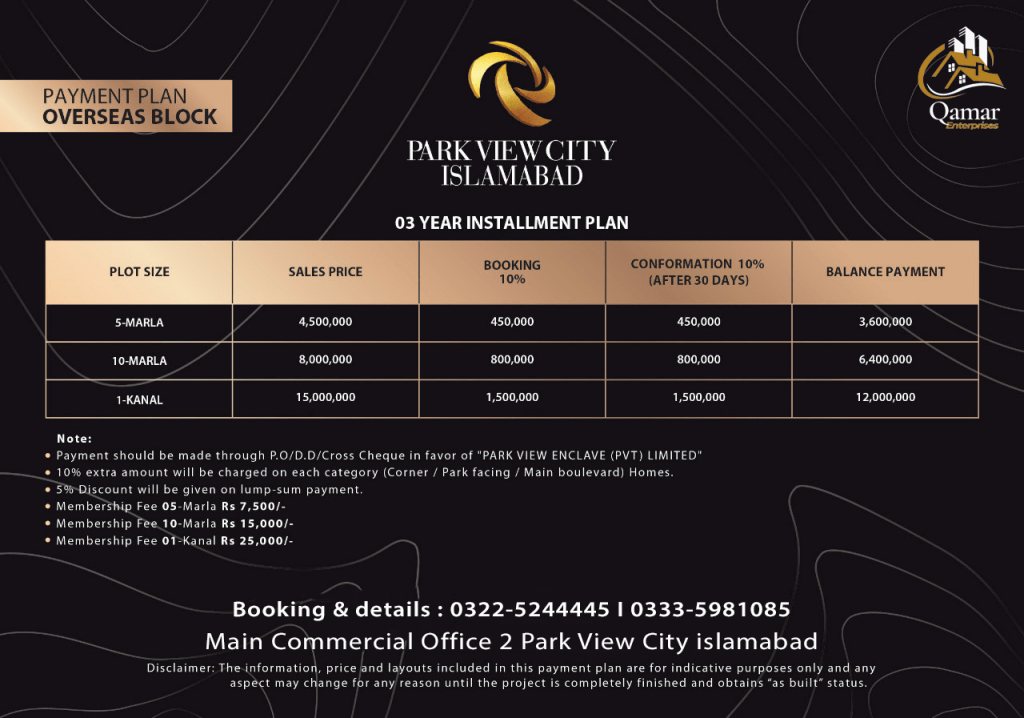 Park view city Oversease payment plan