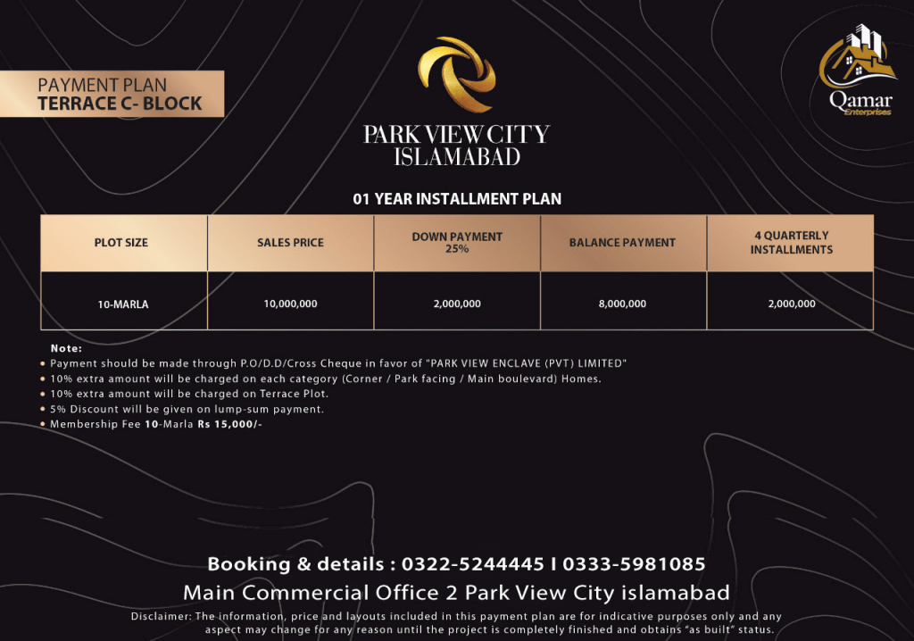 Park view city Terrace plots 10 marla payment plan